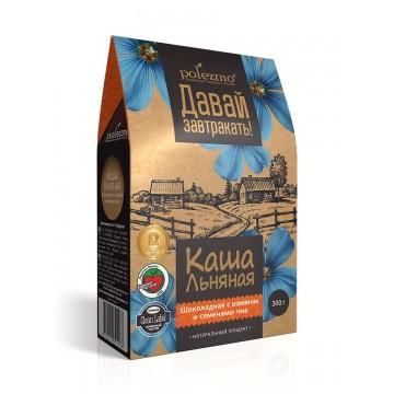 """Каша льняная """"Шоколадная с изюмом и семенами чиа"""", 300 гр Polezzno"""