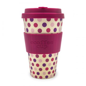 Кофейная эко-чашка:  Розовый горошек, 400мл, Сoffee Cup