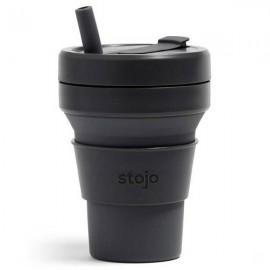 Складной силиконовый стакан с трубочкой Stojo, Чернила, 470мл