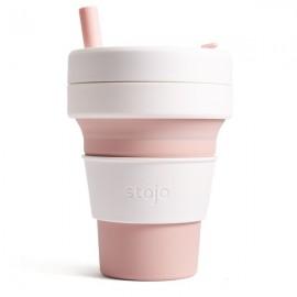 Складной силиконовый стакан с трубочкой Stojo, Роза, 470мл