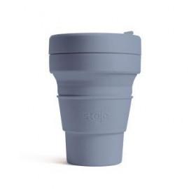 Складной силиконовый стакан с трубочкой Stojo, Сталь, 355мл